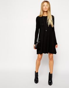 Image 4 of ASOS Swing Dress with Long Sleeves and Seam Detail