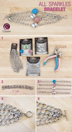 DIY jewelry - how to make your own necklace - design your own jewelry easy tutorial - All Sparkles bracelet