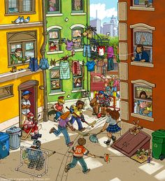 September, Wimmelbild Created for Highlights Magazine Copyright © Highlights Press Writing Pictures, Picture Writing Prompts, Highlights Hidden Pictures, Find The Hidden Objects, Highlights Magazine, Street Hockey, Wheres Wally, Spanish Classroom, Picture Description