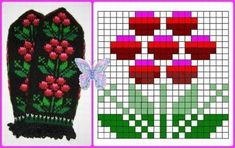 Knitted Mittens Pattern, Intarsia Knitting, Fair Isle Knitting Patterns, Knitting Charts, Mini Cross Stitch, Cross Stitch Cards, Cross Stitch Flowers, Cross Stitch Alphabet Patterns, Flower Chart