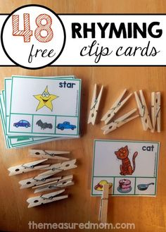 Teach rhyming words with this fun printable!  48 free rhyming clip cards.