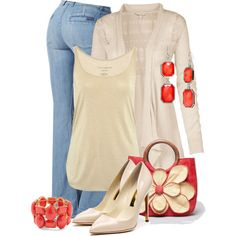 Light Blue Jeans, White, Nude, Coral Outfit