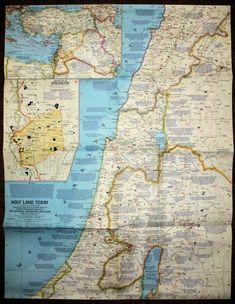 Nat. Geographic Holy Land Today 1963 National Geographic Maps, Religious Books, Rose City, Holy Land, Holi, Vintage World Maps, Religion, Religious Education