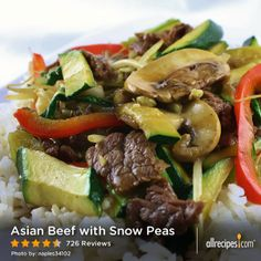 """Asian Beef with Snow Peas   """"Was fast and yummy! You can add any kind do veggies you like! I made it with broccoli, green onions and mushrooms. Then I doubled the sauce. Kids loved it!"""""""
