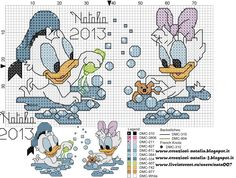 Disney baby cross stitch Donald and daisy Disney Cross Stitch Patterns, Cross Stitch For Kids, Cross Stitch Baby, Cross Stitch Charts, Cross Stitch Designs, Disney Stitch, Donald Bebe, Donald Duck, Cross Stitching