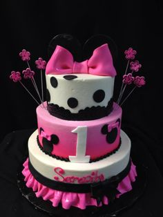 Mickey Mouse little girls 3 tiered birthday cake, Designed by Sam Lucero, Blue Cake, Little Rock AR