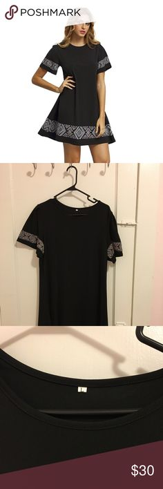 Black Shift Dress: Embroidered Casual Dress Never worn black dress! It's super cute, just too small for me. I am usually an XL, but I thought I'd try this Large. This L seems fits more like a M. There are a few places where the strings are frayed, but overall this dress is brand new!  100% polyester Short sleeve, geometric embroidered, round neck, pullover, loose, casual, summer, flowy, t-shirt dress Dresses
