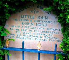 There are two sites that claim John's remains; one beside his comrade, Robin, at the Kirklees Priory, the other at Hathersage in Derbyshire. Description from pinterest.com. I searched for this on bing.com/images