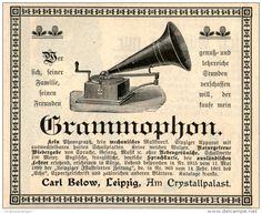 Original-Werbung/ Anzeige 1901 - GRAMMOPHON (KEIN PHONOGRAPH) / CARL BELOW - LEIPZIG- AM CRYSTALLPALAST-  ca.100 x 80 mm