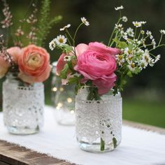 Lace Covered Mason Jar Vases available from @theweddingomd