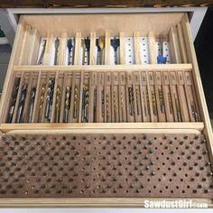 A DIY multi tier, modular storage drawer organizer for drill bits, by Sawdust Girl.