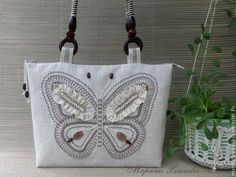 Льняная сумка. Сумка с бабочкой. Стиль кантри, винтажный. Сумка с кружевом.