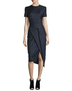 TCC68 DKNY Short-Sleeve Pinstripe Midi Dress, Classic Navy