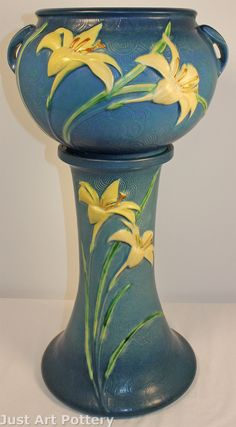 Roseville Pottery Zephyr Lily Blue Jardiniere and Pedestal 671-8 from Just Art Pottery