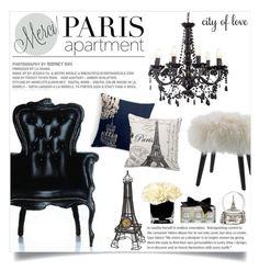 """Merci City of love"" by einn-enna ❤ liked on Polyvore featuring interior, interiors, interior design, home, home decor, interior decorating, DwellStudio, Trish McEvoy, Chandelier and Moooi"