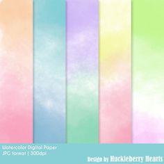 80% OFF SALE Watercolor Digital Paper by HuckleberryHearts on Etsy