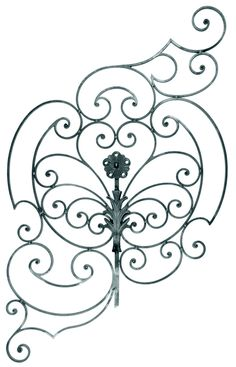"BUY $200 GET 10% OFF - DIY Wall Decor 10 This vertical piece of hand forged steel has elaborate scroll work with heart scroll design in center along with a rosette which resembles the wings of a butterfly. H: 51-3/16""   W: 31-1/2""     Weight: 35.71 lbs."