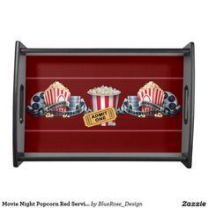 Movie Night Popcorn Red Serving Tray