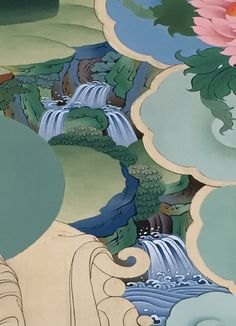 Waterfall detail from the by Tashi Dhargyal Thangka Painting, Buddhist Art, Woodcarving, Art Drawings, Waterfall, Disney Characters, Fictional Characters, Coloring, Detail