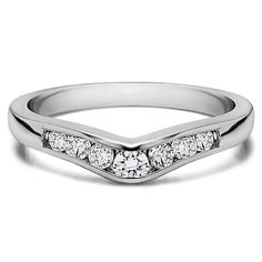 Sterling Silver Graduated d Classic Contour Wedding Ring mounted with Cubic Zirconia (0.25 Cts. twt) (Rose Plated Sterling Silver, Size 4.5), Women's