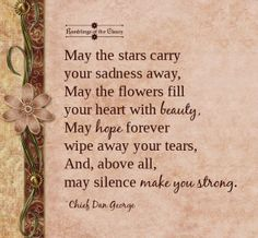 May the stars carry your sadness away, May the flowers fill your heart with beauty, May hope forever wipe away your tears, And, above all, may silence make you strong #blessing #NativeAmerican #stars #sadness #heart #beauty #tears #strength