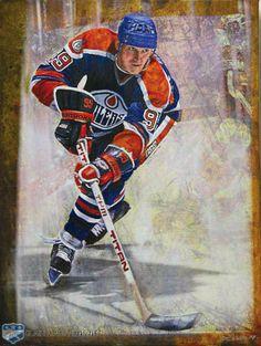 Wayne Gretzky acrylic painting by Steven Csorba. Hockey Rules, Hockey Teams, Ice Hockey, Hockey Stuff, Hockey Pictures, Sports Pictures, Canada Hockey, Canadian Football, Sports Fanatics