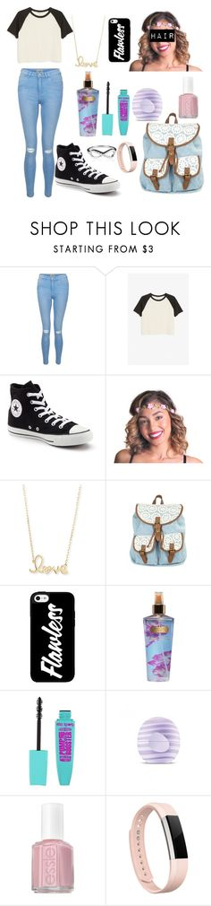 """school outfit"" by loveenana ❤ liked on Polyvore featuring New Look, Monki, Converse, Sydney Evan, Victoria's Secret, Eos, Essie and Fitbit"