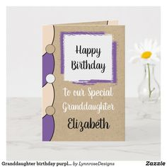 Granddaughter birthday purple white rustic card Personalize this Happy Birthday Card for a special Granddaughter Designed in purple, white and black. Add a name and your message. Happy Birthday With Love *Kraft graphic rustic effect background. *Real Kraft card is not used #ad Happy Birthday Love, Happy Birthday Cards, Birthday Greeting Cards, Custom Greeting Cards, Birthday Greetings, Zazzle Invitations, Photo Cards, Thoughtful Gifts, Blue And White