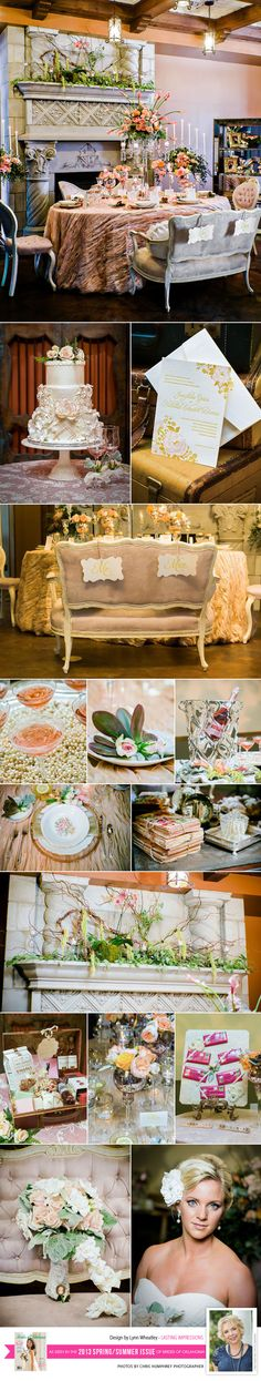 Vintage Travel Inspired Tabletop Design by Lasting Impressions in the new Spring/Summer issue of Brides of Oklahoma. Photos by Chris Humphrey Photographer. #wedding #vintage #travel #tabletop #blush #champagne