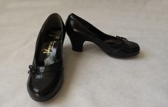 #Black Medium #Heeled Shoes, #Pumps - Dead Stock - 1950s,  View more on the LINK: http://www.zeppy.io/product/gb/3/266941057/