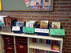 Mandjes lezen. Gebruik de mandjes om boeken onder de aandacht te brengen. Boeken van een schrijven, van een bepaald onderwerp, enz.