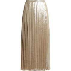 Max Mara Faro skirt ($895) ❤ liked on Polyvore featuring skirts, silver, metallic skirt, maxmara, metallic pleated skirt, holiday skirts and knee length pleated skirt