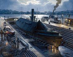 American Civil War Art -                                                      CSS Virginia in dry dock 1862