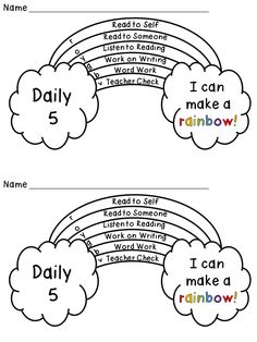 Daily 5 (or centers) Rainbow Tracker Freebie Students color in which activity they did each day on the rainbow, and then when they complete all you check it, they color in the part. Daily 5 Reading, First Grade Reading, Teaching Reading, Guided Reading, Reading Fluency, Guided Math, Teaching Ideas, Reading Centers, Reading Workshop