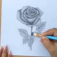 Beautiful Rose Drawing, Rose Drawing Simple, Art Drawings Beautiful, Girl Drawing Sketches, Art Drawings Sketches Simple, Pencil Art Drawings, Tattoo Sketches, Rose Drawing Pencil, 3d Art Drawing