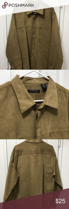 XL Kenneth Cole Camel Colored Button Down XL Camel colored Button Down by Kenneth Cole. This is 100% polyester but has look and feel of suede. Like new condition. Kenneth Cole Shirts Casual Button Down Shirts