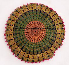 This is a Cotton Fabric Mandala Printed Floor Pillow Cover In Round Shape. Usage - Floor Pillow / Ottoman / Pouf / Pets Bed etc. - Front Side has Blue Base On Multi Color Mandala Pattern. Mandala Print, Mandala Pattern, Round Floor Pillow, Floor Pillows, Cushion Covers, Pillow Covers, Meditation Cushion, Pouf Ottoman, Cotton Fabric