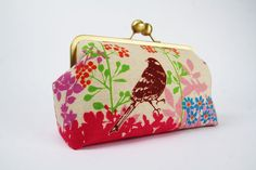 Home pouch  Etsuko birds and leaves in pink  metal by octopurse, $63.90