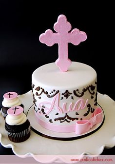 Love the style of the cross - Pink Cross Christening Cake and Cupcakes