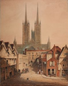 Lincoln Cathedral (before Watercolour by Augustus Charles Pugin Whitworth Art Gallery, University of Manchester. Landscape Photography Tips, Scenic Photography, Landscape Photos, Night Photography, Lincoln England, Lincoln Uk, Worcester Cathedral, Lincolnshire England, Lincoln Cathedral