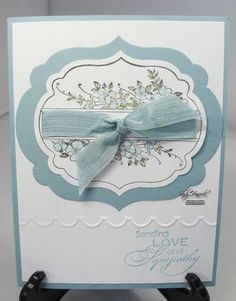 Even though this card is a sympathy card, you could put so many different greetings on it! Can you see the stripes(embossing folder) on the white c/s? Pretty Cards, Cute Cards, Scrapbook Cards, Scrapbooking, Mini Albums, Get Well Cards, Card Patterns, Sympathy Cards, Flower Cards