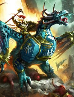 """Lord-Celestant on Stardrake. Truly awesome! """"An even bigger space lizard!"""" -Seth"""