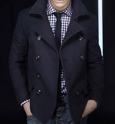 Gingham shirt with skinny tie and classic peacoat.  If you wear the collar on for peacoat down you are a tool.  Double breasted coats like this should always be worn with a popped collar.