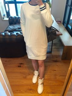 UNIQLO sweater dress, Giuseppe Zanotti high top sneakers, Hermes Toolbox 26.