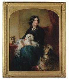 portrait of Lady Albert Paget with Maltese dogby Richard Buckner