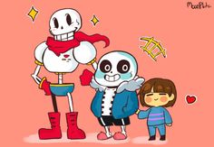 Papyrus, Sans, and Frisk by moonplata