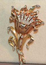 RARE Alfred Philippe Crown Trifari Flower/Inset Rhinestone Fur Clip/Brooch!