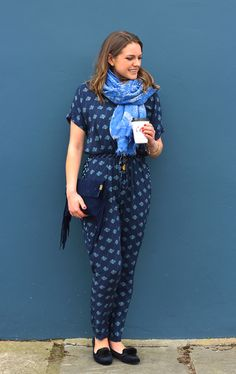 Printed Blue Jumpsuit Outfit + Fringed Clutch Bag | The Elgin Avenue