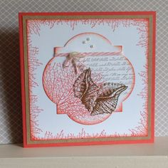 By the Tide stamp set in colours of Calypso Coral and Soft Suede - created by Julia Jordan