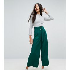 ASOS TALL Clean Culotte with Oversized D Ring Detail Belt ($58) ❤ liked on Polyvore featuring pants, capris, green, green stretch pants, high waisted loose pants, green high waisted pants, loose pants and high waisted stretch pants